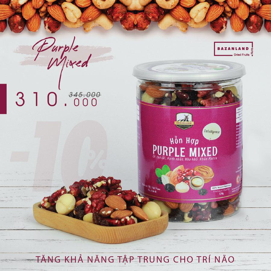 Hộp sản phẩm Purple mixed nuts Bazanland