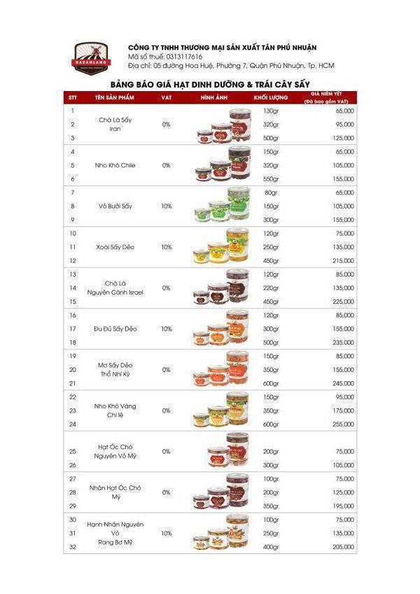 bảng giá hạt dinh dưỡng và trái cây sấy